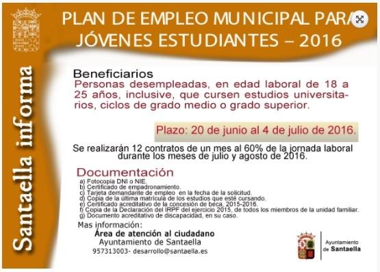 PLAN DE EMPLEO MUNICIPAL PARA JÓVENES ESTUDIANTES 1
