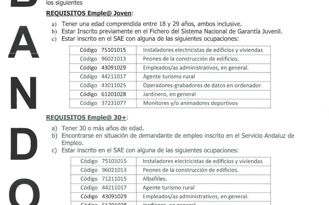 Subvenciones Emple@ Joven y Emple@ 30+