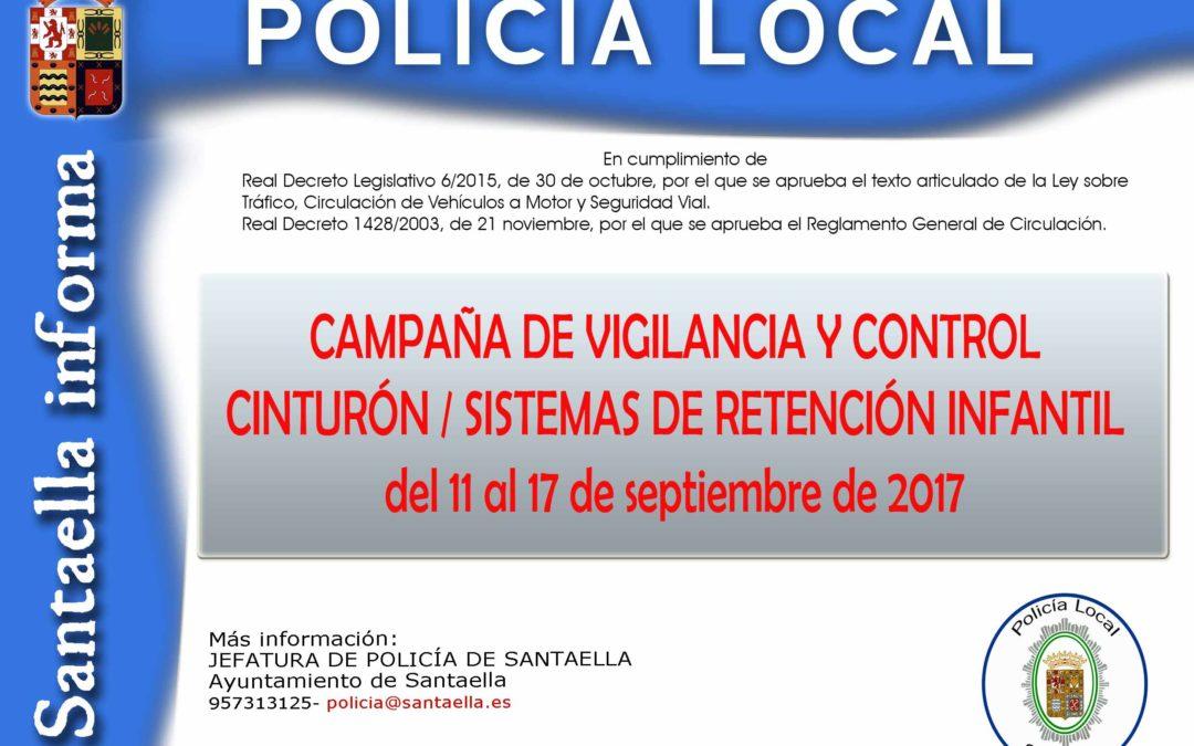 CAMPAÑA DE VIGILANCIA Y CONTROL DE CINTURÓN Y SISTEMAS DE RETENCIÓN INFANTIL