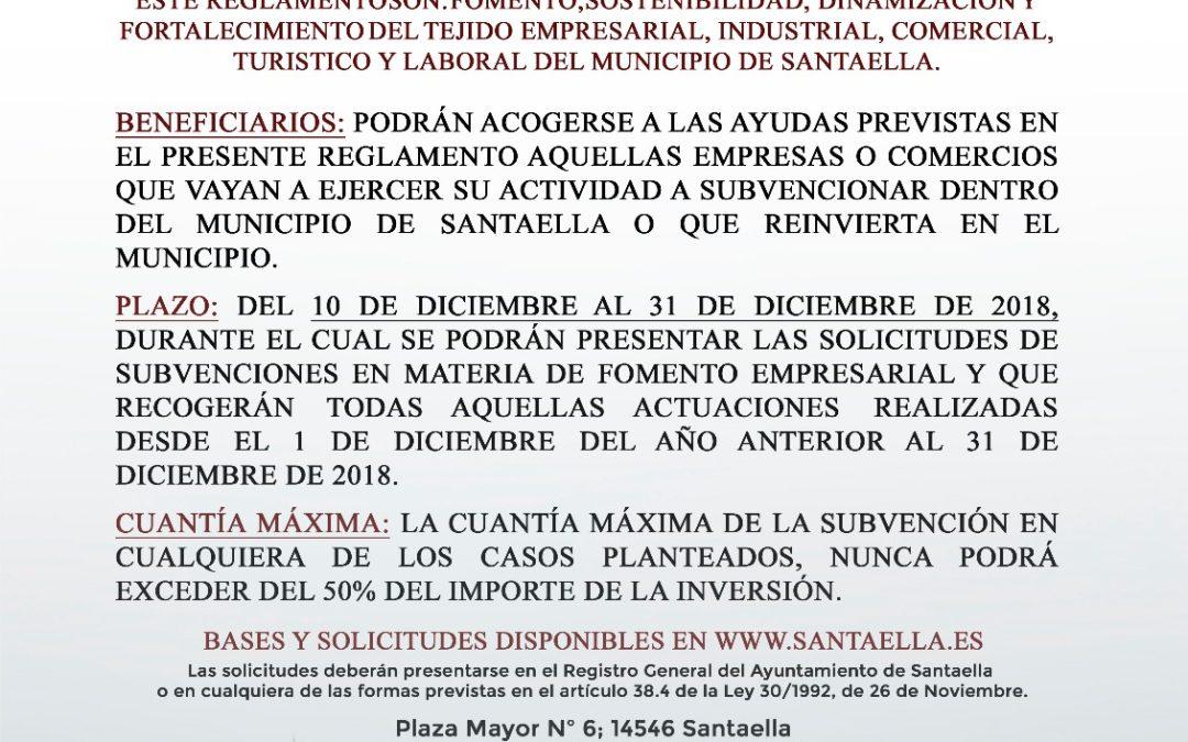 SUBVENCIONES MUNICIPALES PARA EL FOMENTO EMPRESARIAL 2020