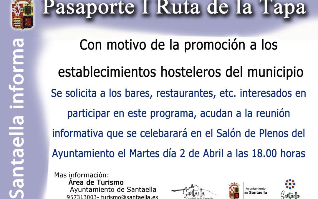 PASAPORTE I RUTA DE LA TAPA VILLA DE SANTAELLA