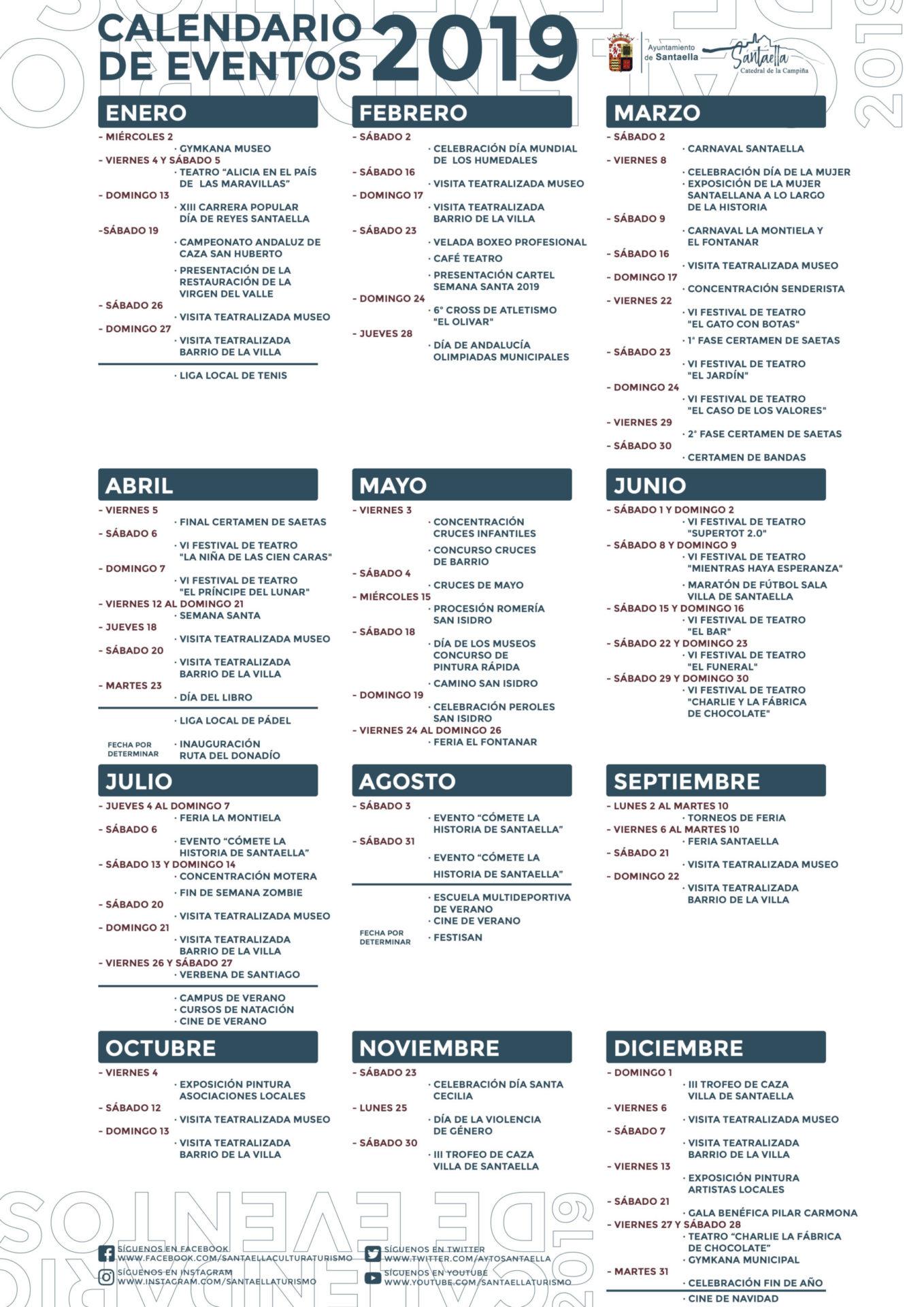 Calendario de eventos de 2019