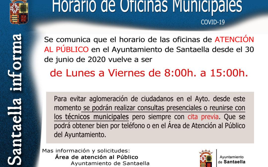 HORARIO DE OFICINAS MUNICIPALES