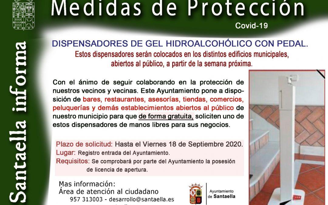 BASES REGULADORAS DE CONCESIÓN DE DISPENSADORES DE GEL HIDROALCOHÓLICO MANOS LIBRES CON PEDAL COMO MEDIDAS DE PROTECCION FRENTE AL COVID 19 PARA BARES, RESTAURANTES, ASESORÍAS, TIENDAS, COMERCIOS, PELUQUERÍAS Y DEMÁS ACTIVIDADES EMPRESARIALES ABIERTAS AL PÚBLICO.