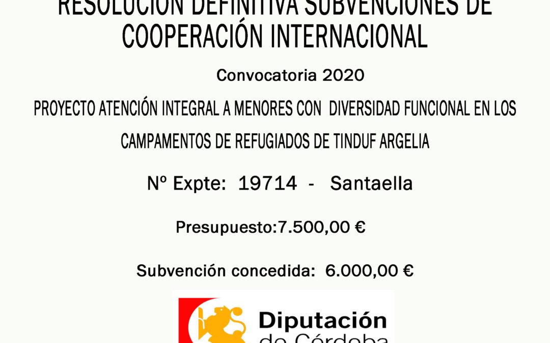 RESOLUCIÓN DEFINITIVA SUBVENCIONES DE COOPERACIÓN INTERNACIONAL 2020