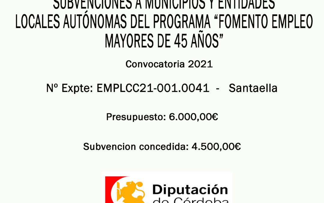 """RESOLUCIÓN DEFINITIVA SUBVENCIÓN """"FOMENTO EMPLEO MAYORES DE 45 AÑOS"""" 2021"""